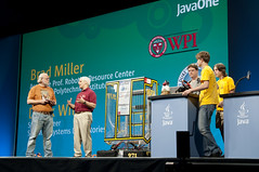 "Brad Miller, Derek White, Students from Mountain View and James Gosling, General Session ""The Toy Show"" on June 5, JavaOne 2009 San Francisco"