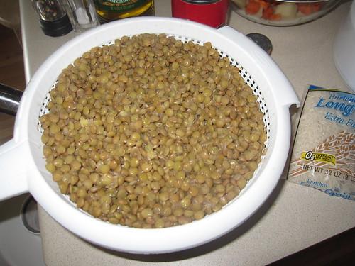 Lentils after draining