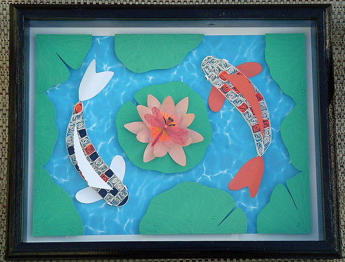 Paper Quilling Koi Watergarden 11X14 framed