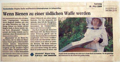 Brigitte Stolle: Bienenstich (Mannheimer Morgen 18. Juli 2009) von Ihnen.