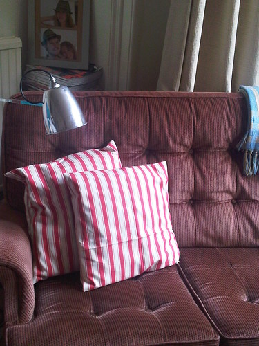 red and white striped cushions