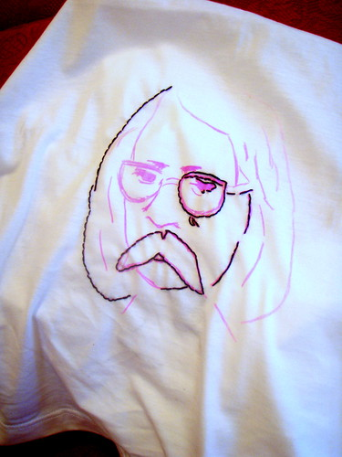 i embroidered richard brautigan on a tshirt