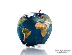 Planet Apple (Abdallah   Photography) Tags: apple photoshop photography rebel one interesting mask map earth overlay explore com layer product ramadan xsi kareem mubarak abdallah   strobist vivitar383 canoneos450d