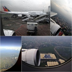 Leaving the Philippines Again (Danburg Murmur) Tags: sky mountain tarmac clouds stairs river geotagged airport highway rooftops mosaic philippines wing manila jetengine airborne boeing747 pilipinas philippineairlines mabuhay maynila geo:lat=14510588 geo:lon=121013637