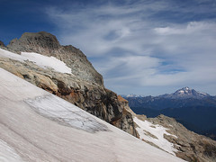 Looking Back to Summit Block and Glacier Peak from Pass on South Shoulder of Kyes