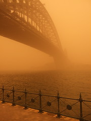 Sydney Harbour Bridge in Dust Storm (anna-cathryn) Tags: bridge storm point harbour sydney dust milsons