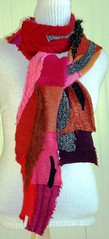 Red Pieced & Applique Collage Sweater Scarf (brendaabdullah) Tags: women colorful recycled handmade funky quilted accessories etsy remake remnants sustainable avantegarde refashion fabricremnants recycledsweaters indiefashion ecoconscious reclaimedsweaters brendaabdullah