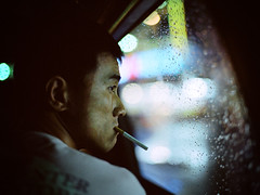 ( Sean Marc Lee ) Tags: mamiya film window water night drops friend 645 noir kodak smoke passages taiwan murakami tainan lin cinematic portra 800