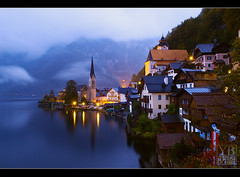 Hallstatt, Austria (Yen Baet) Tags: longexposure blue light mist lake mountains alps church rain fog night clouds landscape photography austria photo sterreich twilight europe soft nightshot postcard peaceful unescoworldheritagesite unesco alpine serene bluehour tranquil austrian waterscape centraleurope natgeo hallstatt nikond200 republiksterreich yenbaet nationalgeographicwinner halstatterlake