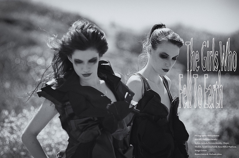 B&W Fashion Editorial Photography Sydney, The Girls Who Fell To Earth, Double Shot, Strega Gowns