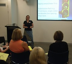 Joanna Penn speaking at a Brisbane public seminar