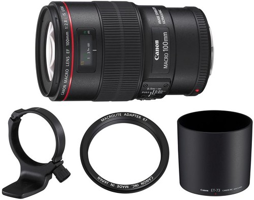 Canon EF 100mm f/2.8L IS USM Macro lens and accessories