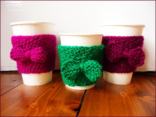 handknit coffee cup cosies