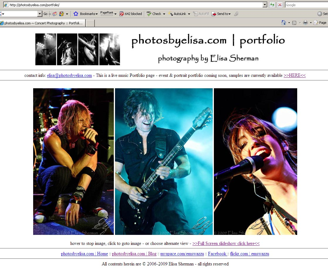 portfolio screenshot on photosbyelisa.com | photography by Elisa Sherman