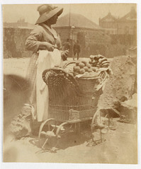 Woman selling fruit from small barrow  Sydney, ca. 1885-1890 / photographed by Arthur K. Syer