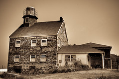 Selkirk Lighthouse built in 1838 (www.brianbosworthphotography.com) Tags: light camp house lake ny ontario building monochrome stone sepia photoshop vintage photography high dynamic brian cottage ps historic historical aged shores range hdr lr selkirk lightroom pulaski bosworth brogan 1838 photomatics exif:iso_speed=200 exif:focal_length=26mm camera:model=nikond300s exif:model=nikond300s exif:aperture=11
