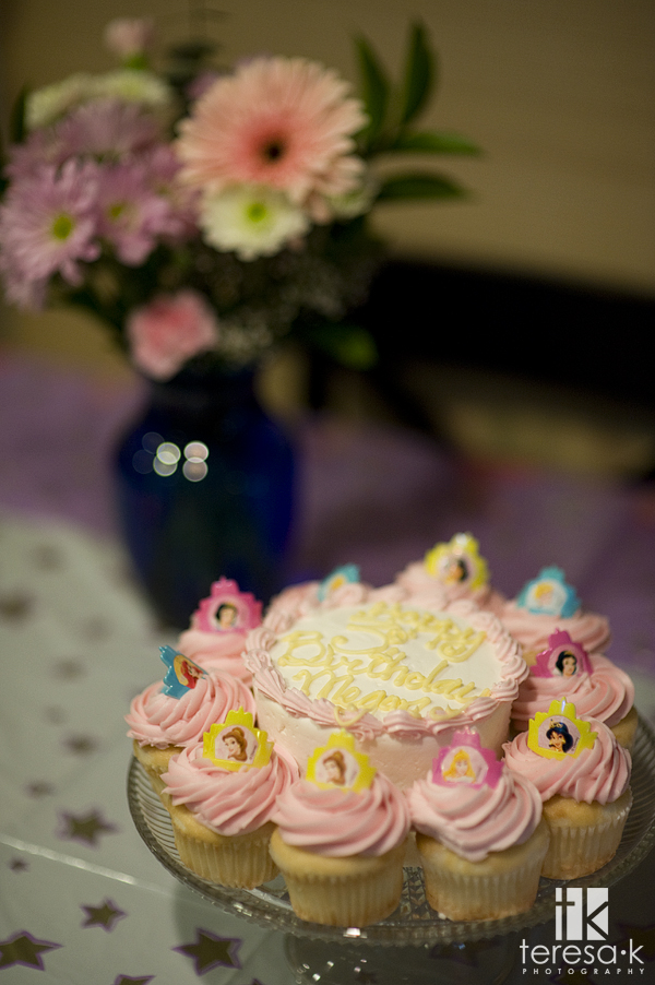 My daughter's Third Birthday Party with princess cupcakes by Teresa K photography, Teresa Klostermann, Folsom Portrait photographer