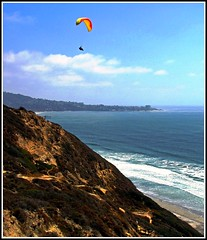 Parachute over San Diego, Paragliding over the Ocean (moonjazz) Tags: california nature risk sandiego wind action hiking flight best soaring thrills parachute daring paraglide blacksbeach rewards