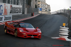 Ferrari F50 on F1 circuit (Julien Rubicondo Photography - julienrubicondo.com) Tags: blue red sun white black paris green cars car yellow night season one hotel spain sunny grand s f1 ferrari casino montecarlo monaco prix cover covered formula pearl carlo monte gt bugatti circuit 2009 supercar zonda supercars veyron f50 pagani htel spannish 599 ferrarif50 grandsport
