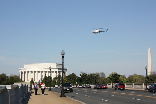 Helicopter over the Arlington Memorial Bridge