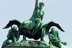 Lucern Statue II (cwgoodroe) Tags: sun mountain lake snow alps green church statue ferry fairytale swimming switzerland boat europe locals suisse swiss sunny location farms movieset luce swissalps lucern medivil beerpasture