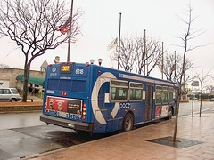 Pace  route # 307 bus idling at the north terminal. Elmwood Park Illinois. January 2007.
