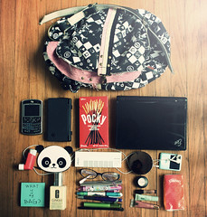 What is in my school bag? (margyyy) Tags: mac panda ipod postit makeup motorola pocky mascara parcel redearth dsi eee whatisinmybag inhaler kleenx iclicker