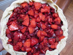 strawberry rhubarb ricotta tart