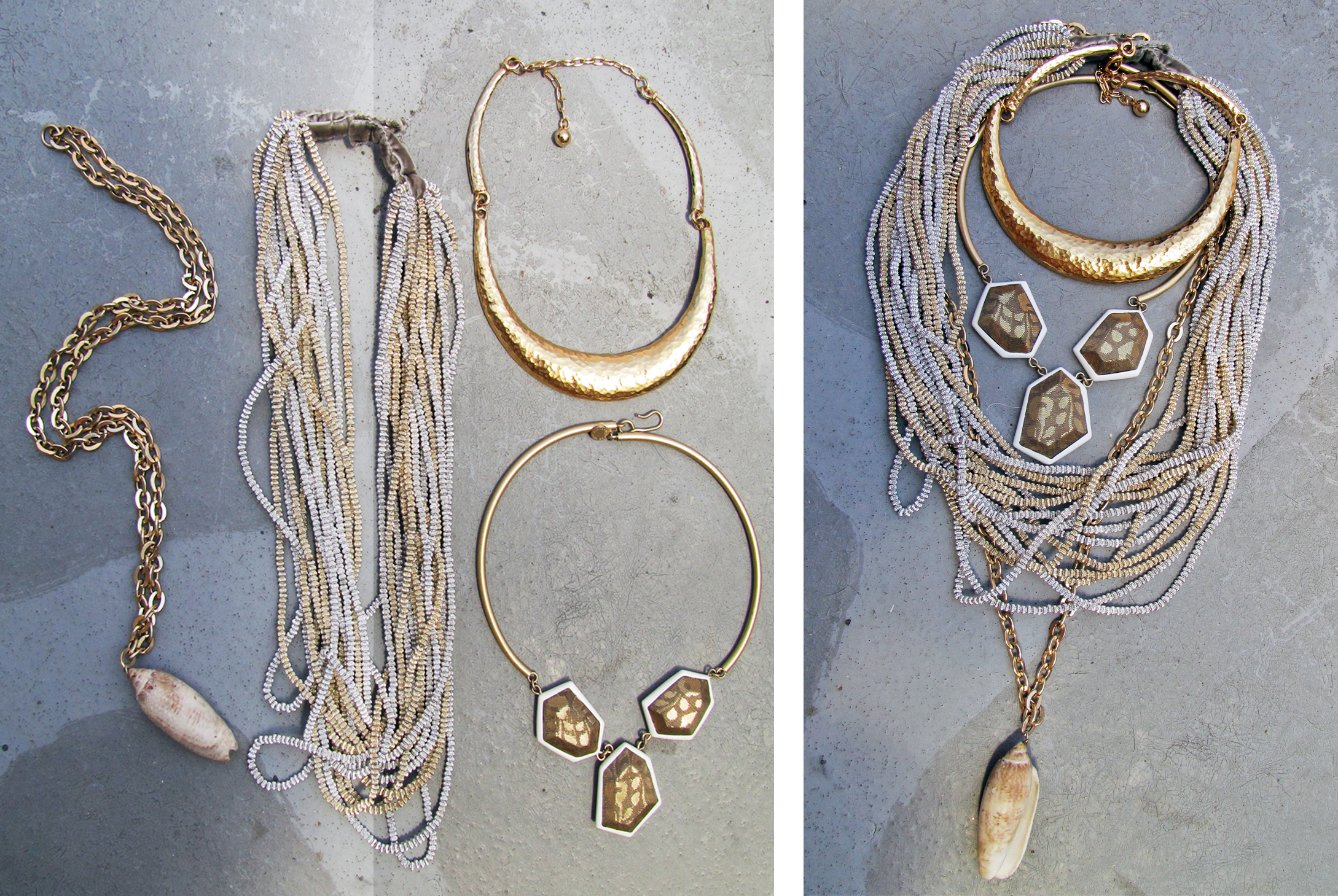 gold-silver-layered-necklaces-marc-jacobs-vintage-shell