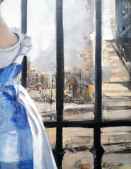 Édouard Manet's The Railway, oil on canvas, 1872-73 with detail of rails