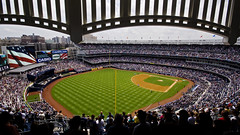 New Yankee Stadium - MLB - Happy Fourth of July (anadelmann) Tags: nyc newyorkcity blue red usa white ny newyork green baseball action bronx flag sony f100 fourthofjuly alpha yankees yankeestadium ballpark 900 newyorkyankees mlb nationalanthem nyy majorleaguebaseball v1000 a900 macombsdampark newyankeestadium sonyalpha900 anadelmann