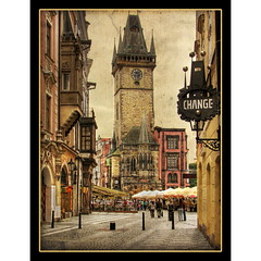 Prague Old Town Square (Mike G. K.) Tags: street old people tower texture clock sign geotagged prague balcony praha change czechrepublic oldtownsquare hdr cafes textured astronomicalclock photomatix 3exp geo:lat=50087251 geo:lon=14422324