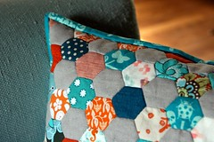 Hexillow (kelp!) Tags: blue orange linen sewing sew pillow hexagon hexagons patchwork englishpaperpiecing
