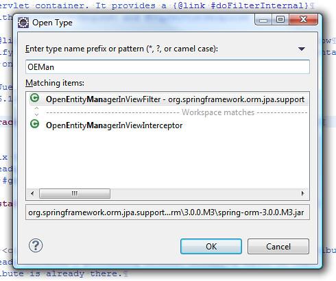 Okienko OpenType w Eclipse 3.5