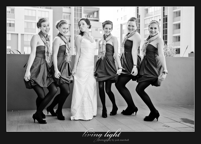 Bridesmaids posing. Honeysuckle, Newcastle.
