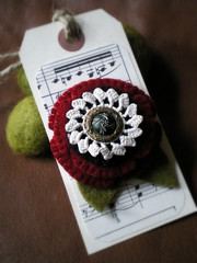 recycled wool brooch (lilfishstudios) Tags: red white black flower wool pin recycled handmade brooch craft accessories repurposed vintagebutton lilfishstudios feltedwoolsweater