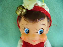 Dikkens, it's a boy! (judibird) Tags: christmas xmas holiday vintage toy 60s doll bell kitsch pixie plush elf devil diablo 1968 whimsical madeinjapan kamar dikkens babypixie kneehugger