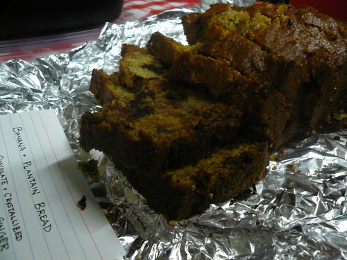At FEAST: Banana/Plantain bread with chocolate and crystallized ginger.