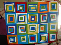 Quilt Finished! (QuiltingPo) Tags: colorful quilt solids drunklove wonkysquares deniseschmidt