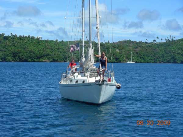 Dosia coming into the Vava'u Harbor in Tonga