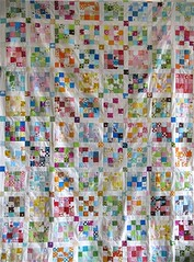postage stamp progress! ({ philistine made }) Tags: colorful squares sewing fabric quilting blocks patchwork postage postagestampquilt