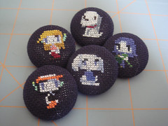 Cave Story buttons (benjibot) Tags: crossstitch crafts videogames button cavestory