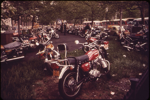 Motorcycle Parking near Battery Park in Lower Manhattan These Machines Belong to People Who Work in Downtown Offices 05/1973