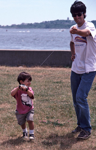 Peter flying a kite at Georges Island