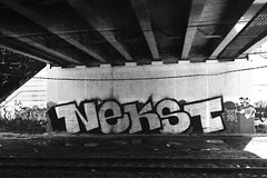 Who's got Nekst? (damonabnormal) Tags: street city urban blackandwhite bw philadelphia graffiti nikon mural tag streetphotography tags september urbanart pa graff taggers tagging phl d30 2009 215 nekst tagz d80 philadelphiastreetart philadelphiagraffiti wallbomb rrgraffiti philadelphiaurbanart