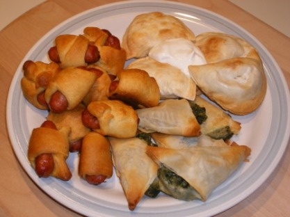 A Hat Trick of Appies: Piggies in a Blanket, Pierogi, and Spanakopita