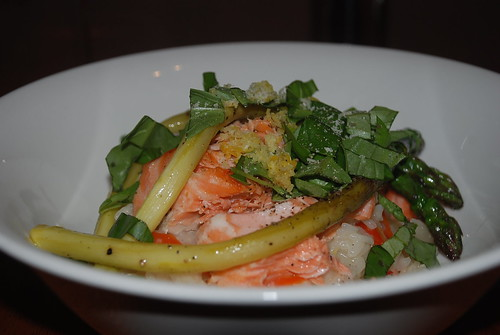 Risotto with fresh asparagus and salmon
