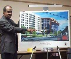 Photo: MoCo exec Leggett showed off designs for the new library Saturday. Credit: J. Deseo/SSP.