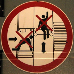 Do not climb on equipment (Leo Reynolds) Tags: sign canon eos 50mm f45 squaredcircle peril iso1600 signsafety signno 40d hpexif 0017sec signcircle groupperil sqset042 xleol30x