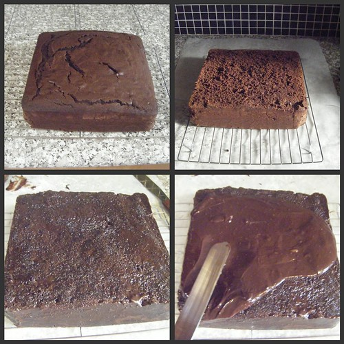 Chocolate cake frosting collage